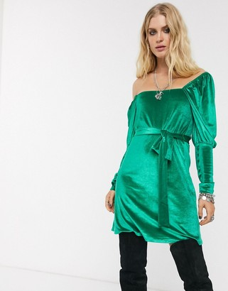 ASOS DESIGN Long sleeve square neck puff sleeve velvet mini dress in green