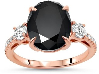 Overstock 14k Rose Gold 4 4/5ct Black Oval Diamond 3 Stone Engagement Ring
