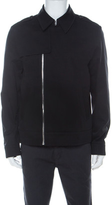 Givenchy Black Cotton Trench Style Zip Front Bomber Jacket L