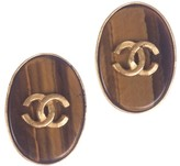 Chanel CC Tiger Eye Oval Earrings