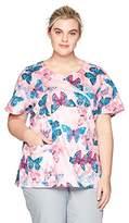 Carhartt Women's Plus Size Rockwall Print Mock Wrap Notch Neck Scrub Top