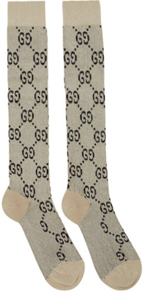 Gucci Off-White and Gold Lame GG Socks