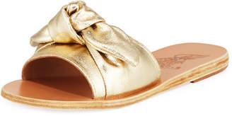 Ancient Greek Sandals Taygete Denim Bow Flat Slide Sandals