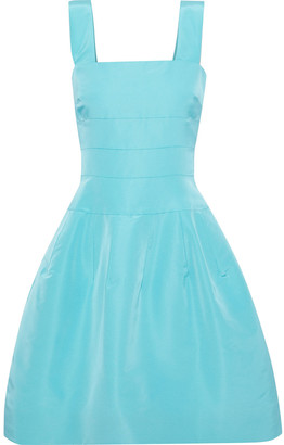 Oscar de la Renta Flared Pleated Silk-faille Dress
