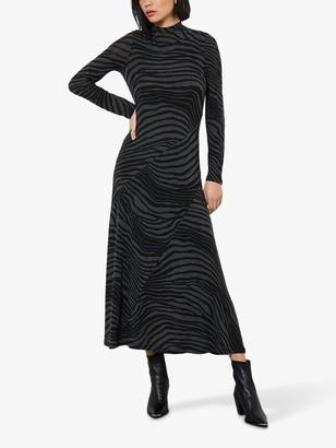 Mint Velvet Zebra Print Midi Dress, Grey