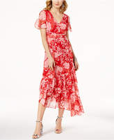 INC International Concepts I.N.C. Printed Flutter-Sleeve Asymmetrical Dress, Created for Macy's