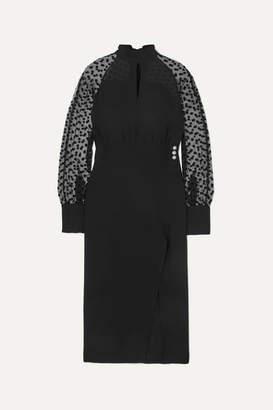 Balmain Flocked Tulle And Silk-crepe Midi Dress - Black