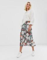 Asos Design DESIGN animal and floral print bias slip skirt with fluted hem