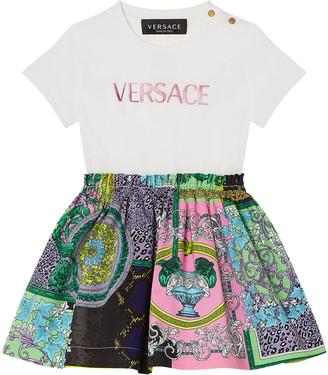 Versace Girl's Jersey Logo Combo Dress, Size 12-36 Months