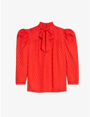 Sandro Rayani pussy-bow jacquard blouse