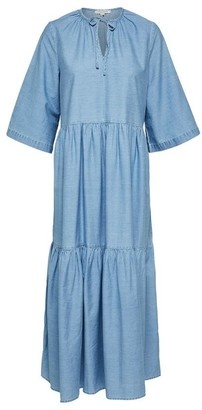 Selected Ruffled Maxi Dress - 36 | cotton | blue - Blue/Blue