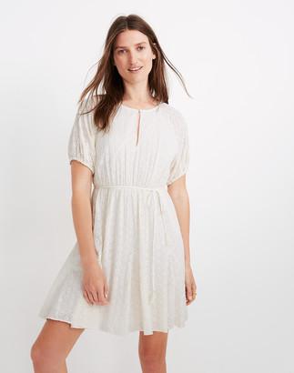 Madewell Petite Eyelet Tassel-Tie Mini Dress