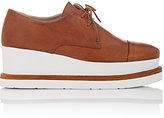 Barneys New York WOMEN'S CAP-TOE LEATHER PLATFORM-WEDGE DERBYS-BROWN SIZE 8