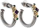 David Yurman Amethyst & Chrome Diopside Renaissance Hoop Earrings