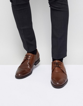 Jack and Jones leather derby shoes in brown