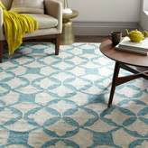 west elm Tile Wool Kilim Rug - Aquamarine
