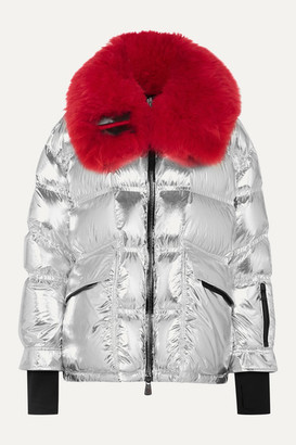 Moncler Shearling-trimmed Metallic Quilted Down Ski Jacket - Silver