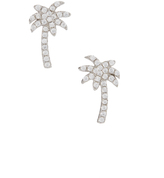 Cubic Zirconia & Sterling Silver Palm Tree Stud Earrings