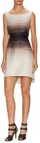 Halston Print Structured High Low Dress