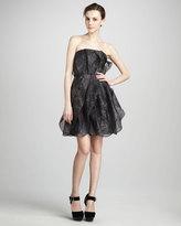 Halston Strapless Printed Organza Dress