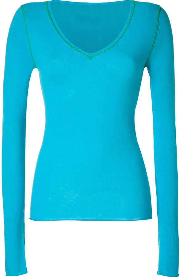Dear Cashmere Turquoise/Green Cotton-Cashmere V-Neck Pullover