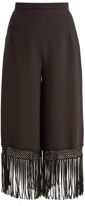 Andrew Gn Fringed Hem Wide Leg Crepe Trousers - Womens - Black