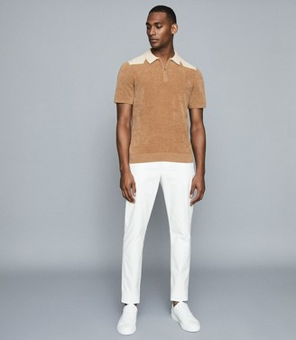 Reiss Wyatt - Towelling Zip Neck Polo in Camel