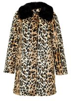 Hallhuber Leopard Print Crop Coat Made Of Faux Fur