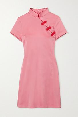 De La Vali Suki Bead-embellished Stretch-satin Mini Dress