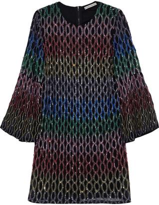 Alice + Olivia Thym Embellished Chiffon Mini Dress