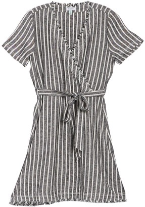 Susina Striped Short Sleeve Linen Blend Wrap Dress (Regular & Petite)