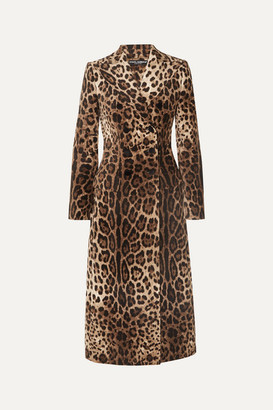 Dolce & Gabbana Leopard-print Double-breasted Cotton-blend Velvet Coat - Brown