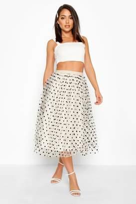boohoo Polka Dot Flocked Tulle Midi Skirt