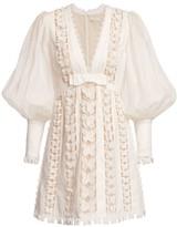 Zimmermann Super 8 Butterfly Lace Eyelet Puff-Sleeve Silk & Linen Dress