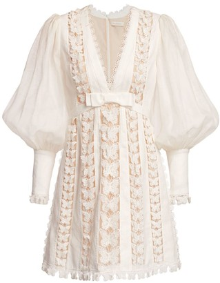 Zimmermann Super 8 Butterfly Lace Eyelet Puff-Sleeve Silk & Linen Dress