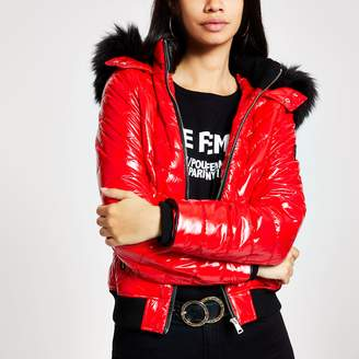 River Island Womens Red high shine padded bomber jacket