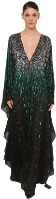 Azzaro Sequin Embellished Silk Chiffon Dress