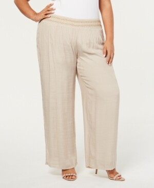 Nicola Jm Collection Plus Size Lined Gauze Pull-On Pants, Created for Macy's