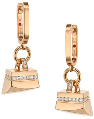 Roberto Coin Sauvage Prive 18K Rose Gold & Diamond Pave Charm Hoop Earrings