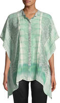 Roberto Cavalli Short-Sleeve Silk Button-Front Blouse