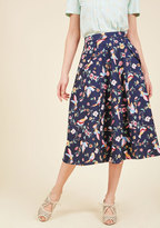 Collectif Off in My Own Whirl Midi Skirt in Birds in S