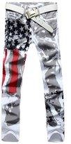 Jinmen Men's Fashion Slim-fit Jeans Pants Trousers USA American Flags