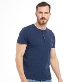 Ted Baker Mens Arrden Laundered Henley Short Sleeve T-Shirt Navy