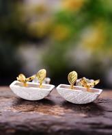 Lotus Fun Women's Earrings GOLD - Two-Tone Sterling Silver Butterfly & Leaf Stud Earrings