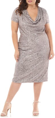 JS Collections Cowl Neck Sequin Cocktail Dress