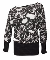Lush Lane Womens Off Shoulder Printed Plus Size Batwing Top