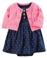 Carter's 2-Piece Polka Dot Bodysuit Dress and Cardigan Set in Pink/Navy
