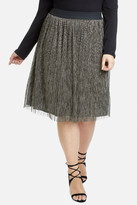 Fashion to Figure Dazzle Me Metallic Pleated Skirt