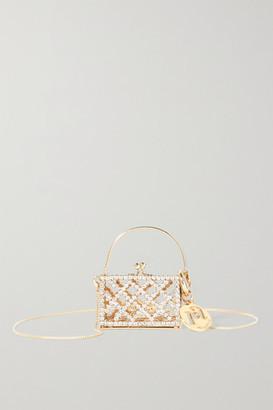 Rosantica Baby Garofano Mini Crystal-embellished Gold-tone Shoulder Bag - Silver