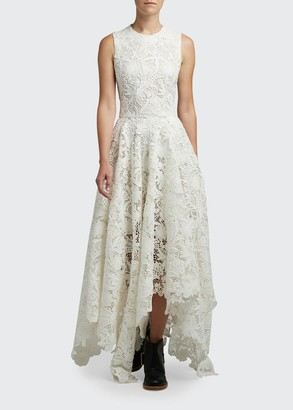 Alexander McQueen Sheer Embroidered-Lace Cocktail Dress